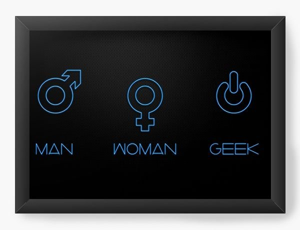 Quadro Decorativo  Man - Woman - Geek - Nerd e Geek - Presentes Criativos