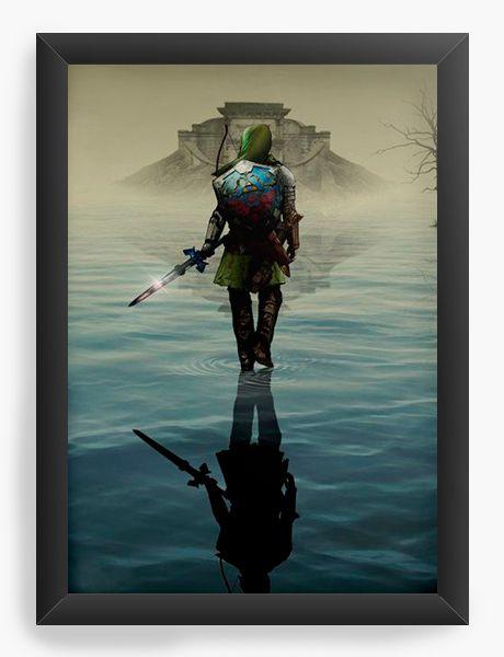 Quadro Decorativo A4 (33X24) The Legend of Zelda - Link over water - Nerd e Geek - Presentes Criativos