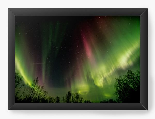 Quadro Decorativo A4 (33X24) Aurora Boreal - Nerd e Geek - Presentes Criativos