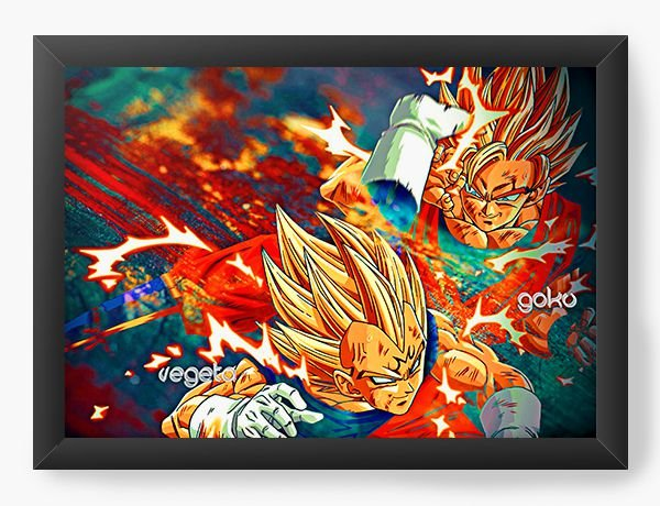 Quadro Decorativo A4 (33X24) Dragon Ball - Vegeta - Nerd e Geek - Presentes Criativos