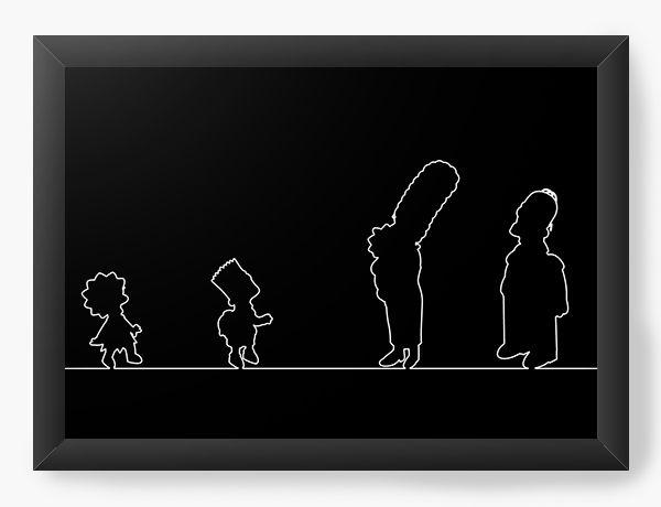 Quadro Decorativo Os Simpsons versão silhueta - Nerd e Geek - Presentes Criativos