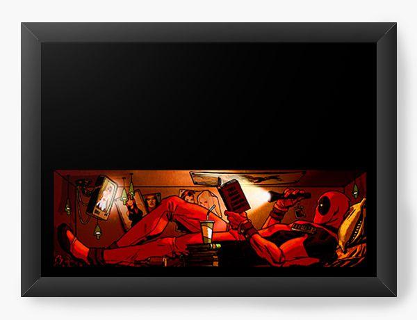 Quadro Decorativo Deadpool into bed