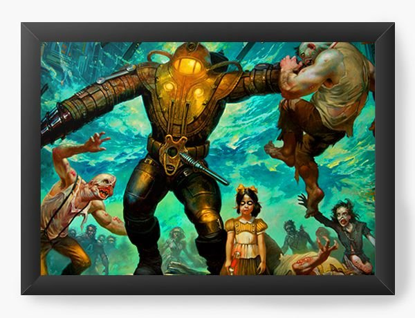 Quadro Decorativo A4 (33X24) The BioShock Game - Nerd e Geek - Presentes Criativos