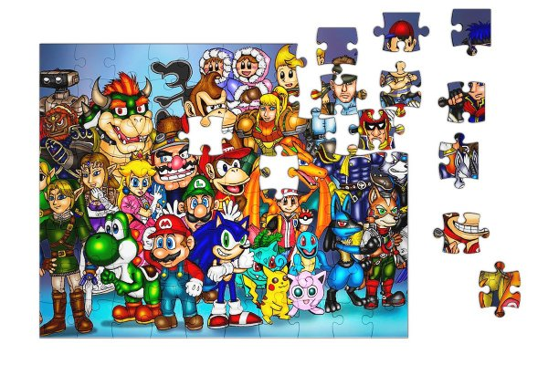 Quebra-Cabeça Super Mario e Link - Diversos 90 pçs - Nerd e Geek - Presentes Criativos