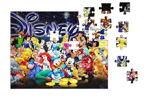 Quebra-Cabeça Pateta, Mickey, Ariel, Alice 90 pçs