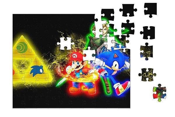 Quebra-Cabeça Sonic, Link, Super Mario 90 pçs