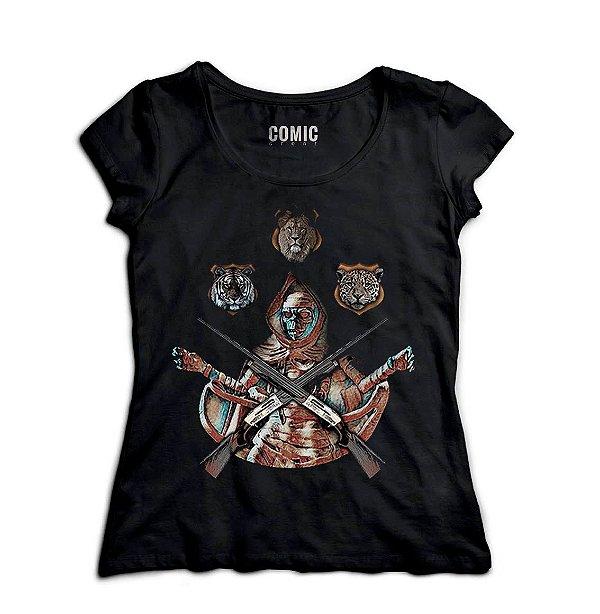 Camiseta Feminina Caçador - Skull - Nerd e Geek - Presentes Criativos