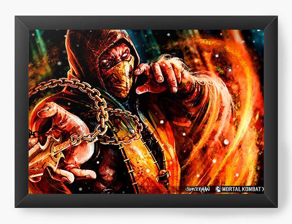 Quadro Decorativo Mortal Kombat X - Scorpion - Nerd e Geek - Presentes Criativos