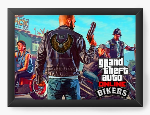 Quadro Decorativo GTA - Bikers - Nerd e Geek - Presentes Criativos