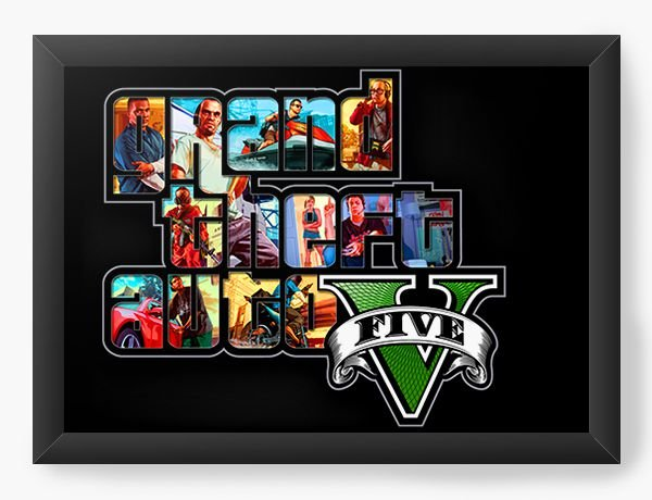 Quadro Decorativo GTA FIVE - Nerd e Geek - Presentes Criativos