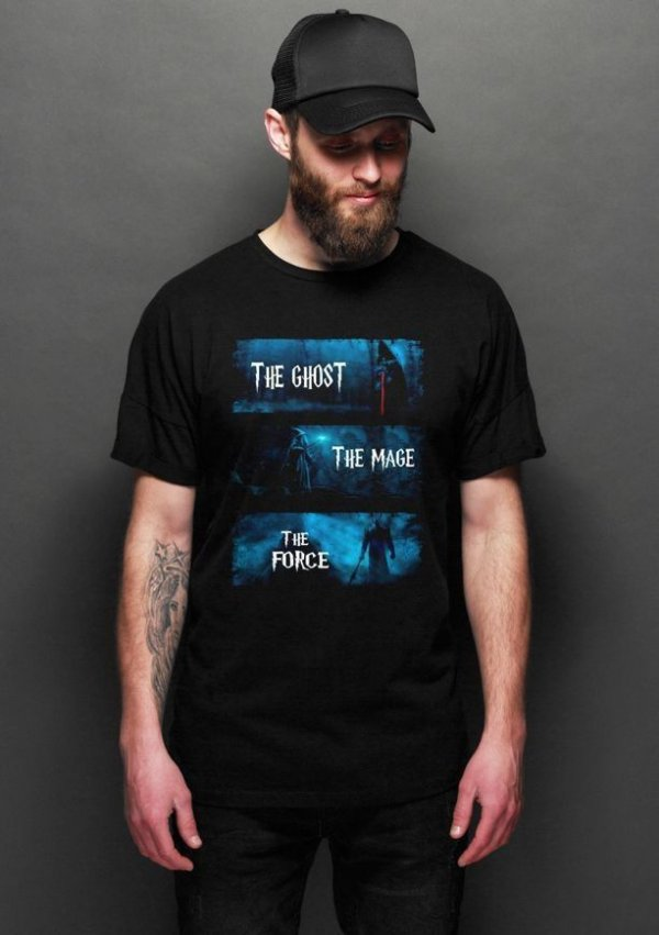 Camiseta Masculina  The Lord of Rings The Ghost The Mage The Force - Nerd e Geek - Presentes Criativos