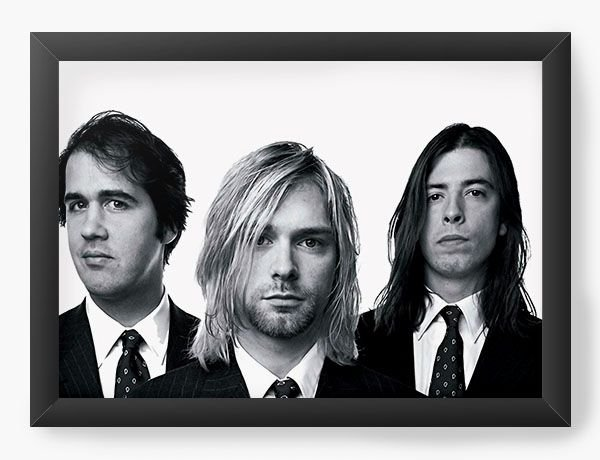 Quadro Decorativo A4 (33X24) Nirvana - Nerd e Geek - Presentes Criativos