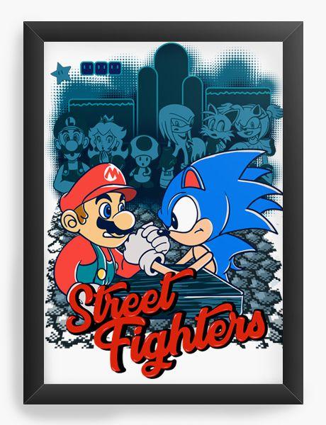 Quadro Decorativo A4 (33X24) Mario vs Sonic Street Fighters - Nerd e Geek - Presentes Criativos