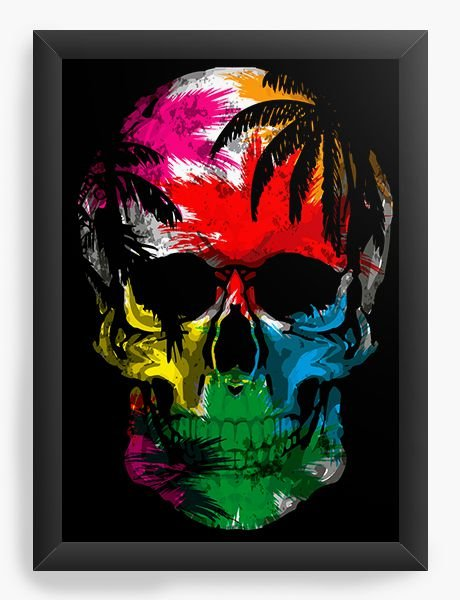 Quadro Decorativo A4 (33X24) Skull Colorful - Nerd e Geek - Presentes Criativos