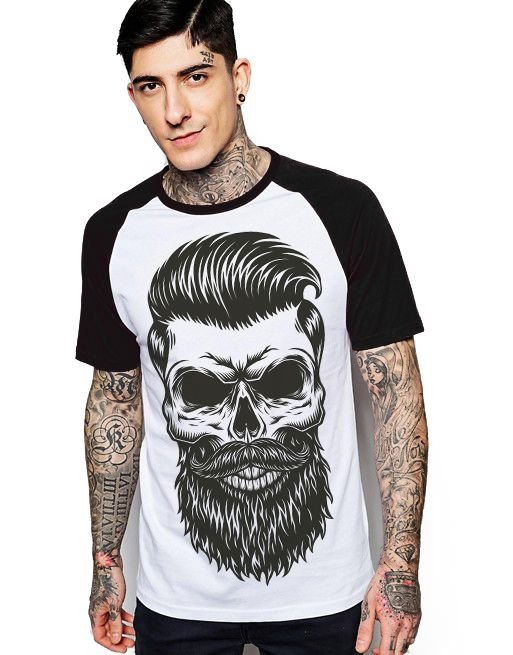 Camiseta Raglan King33 Skull - Nerd e Geek - Presentes Criativos