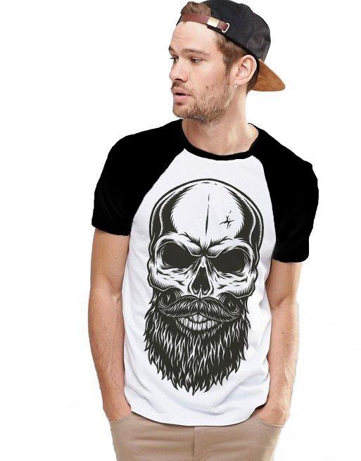 Camiseta Raglan King33 Skull Beard - Nerd e Geek - Presentes Criativos