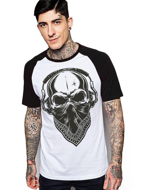 Camiseta Raglan King33 Skull Music - Nerd e Geek - Presentes Criativos