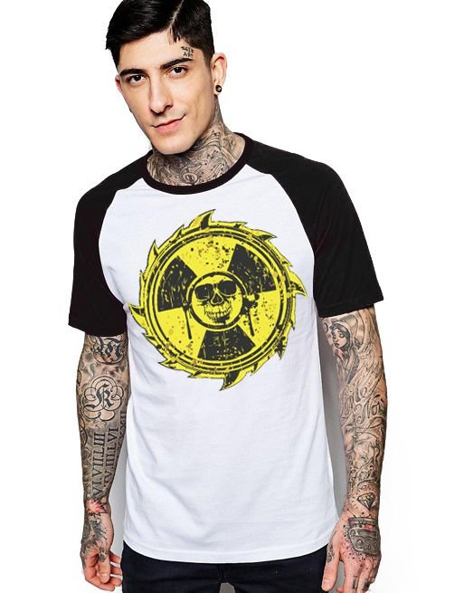 Camiseta Raglan King33 Skull Danger - Nerd e Geek - Presentes Criativos