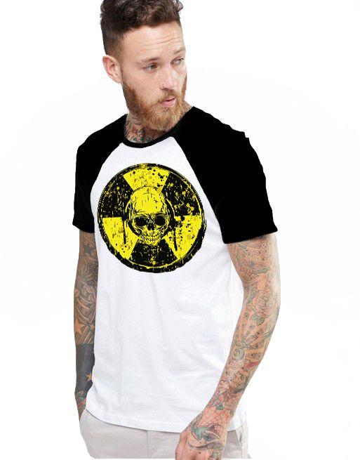 Camiseta Raglan King33 Skull Face - Nerd e Geek - Presentes Criativos
