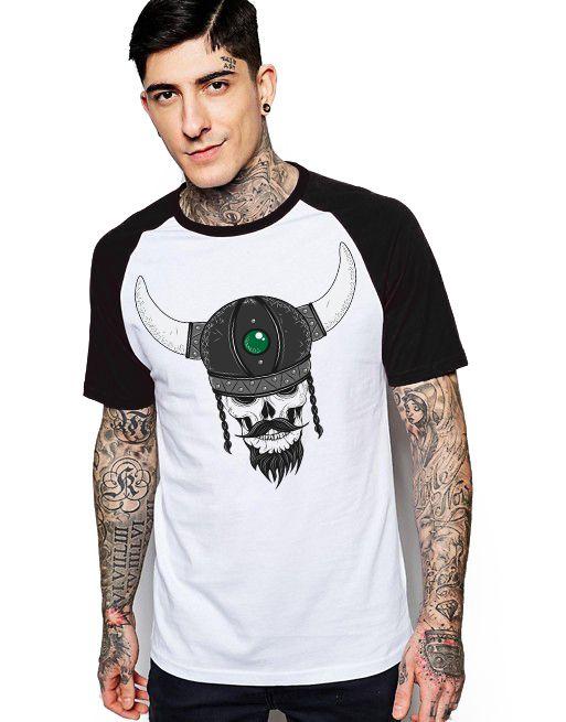 Camiseta Raglan King33 Skull Bull - Nerd e Geek - Presentes Criativos