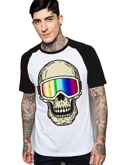 Camiseta Raglan King33 Skull 3D - Nerd e Geek - Presentes Criativos