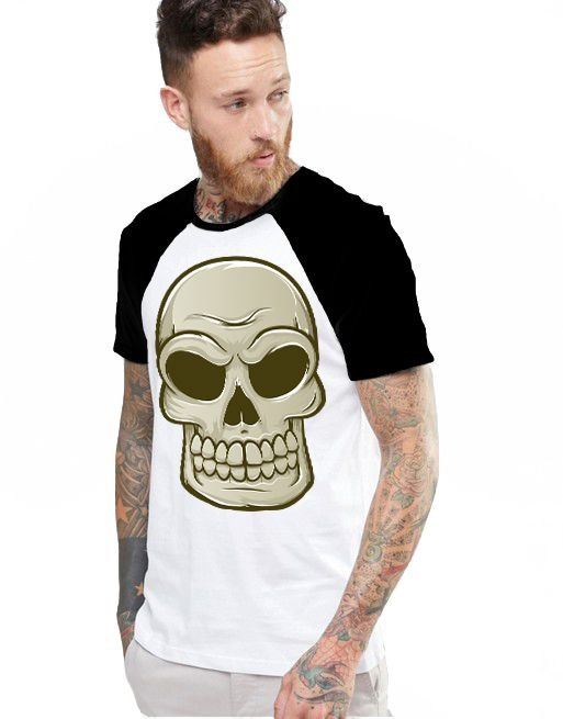 Camiseta Raglan King33 Skull 3 - Nerd e Geek - Presentes Criativos