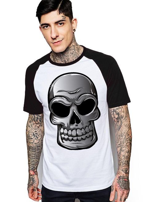 Camiseta Raglan King33 Skull Face Evil - Nerd e Geek - Presentes Criativos