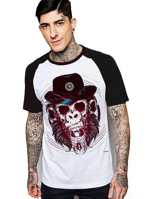 Camiseta Raglan King33 Monkey Crazy - Nerd e Geek - Presentes Criativos