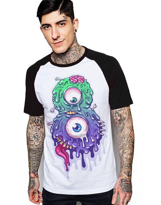 Camiseta Raglan King33 Olhos Esbugalhados - Nerd e Geek - Presentes Criativos