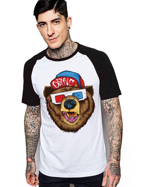 Camiseta Raglan King33 Urso 3D - Nerd e Geek - Presentes Criativos