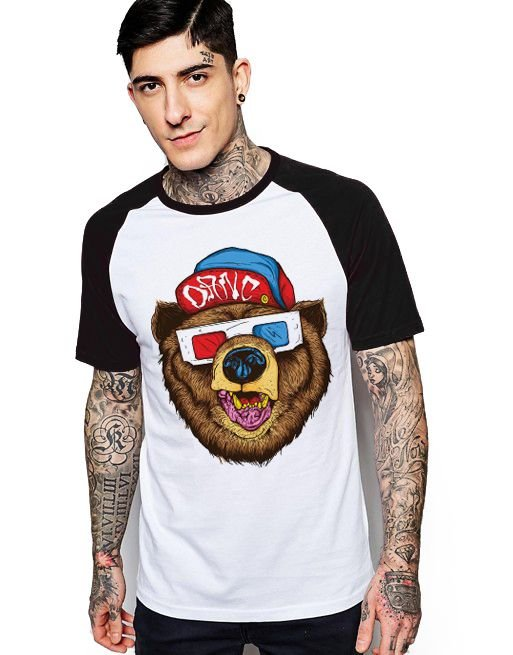 Camiseta Raglan King33 Urso 3D