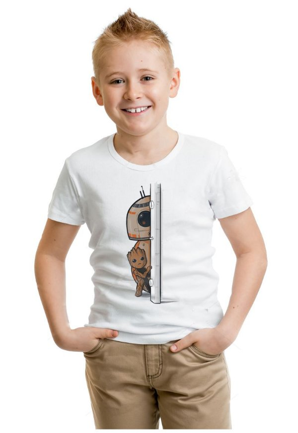 Camiseta Infantil Guardiões das Glaxia - Groot e BB-8