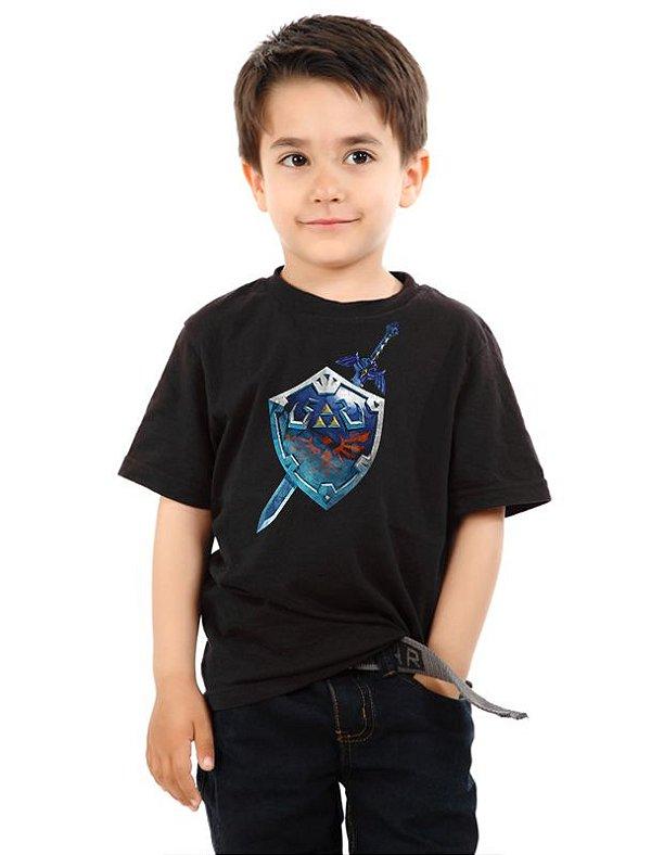 Camiseta Infantil  The Legend of Zelda - Escudo - Nerd e Geek - Presentes Criativos