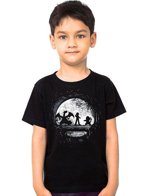 Camiseta Infantil Ash e Pikachu