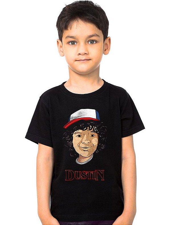 Camiseta Infantil Stranger Things - Dustin - Nerd e Geek - Presentes Criativos