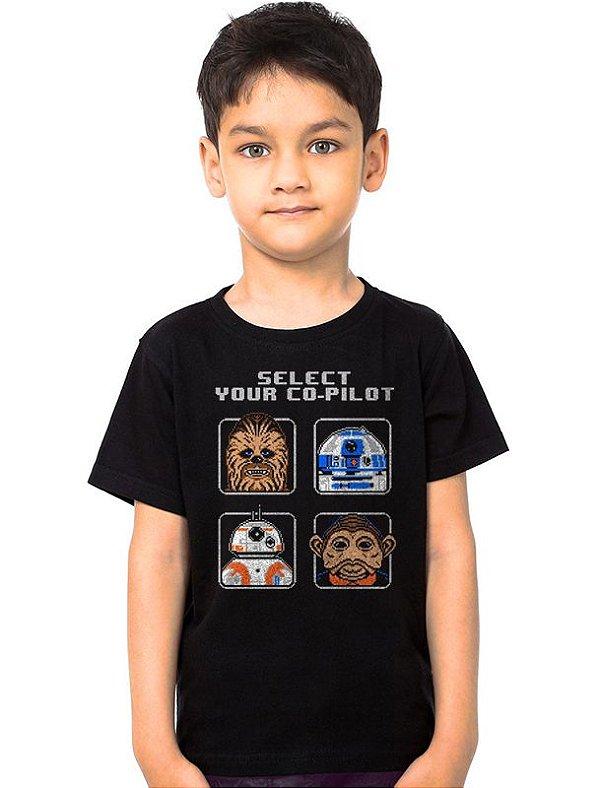 Camiseta Infantil Star Wars - Chewbacca e R2-D2
