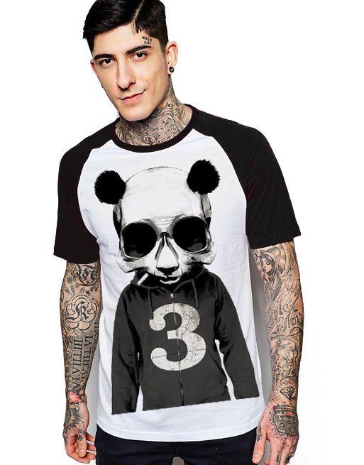 Camiseta Raglan King33 Urso Panda - Nerd e Geek - Presentes Criativos