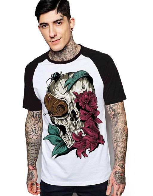 Camiseta Raglan King33 Skull Rose - Nerd e Geek - Presentes Criativos