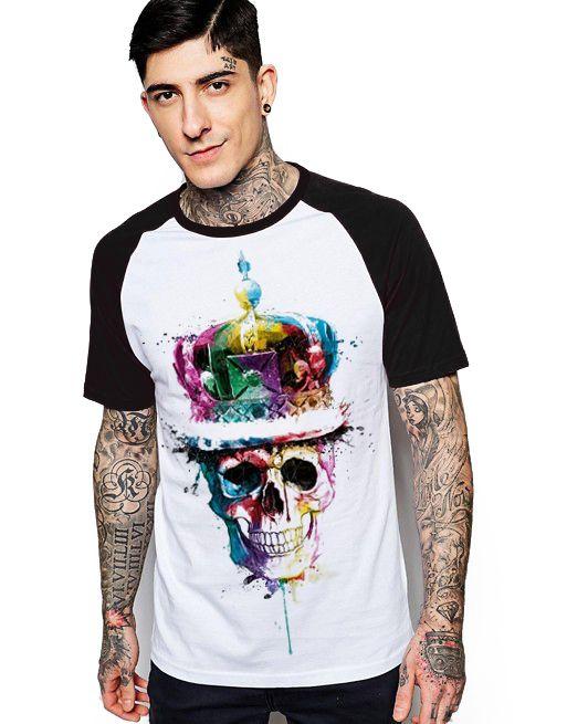 Camiseta Raglan King33 King Skull - Nerd e Geek - Presentes Criativos