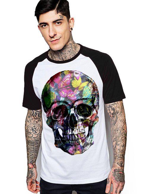 Camiseta Raglan King33 Skull Face Roses - Nerd e Geek - Presentes Criativos