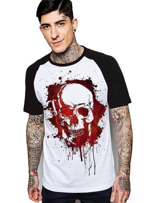 Camiseta Raglan King33 Skull Red - Nerd e Geek - Presentes Criativos