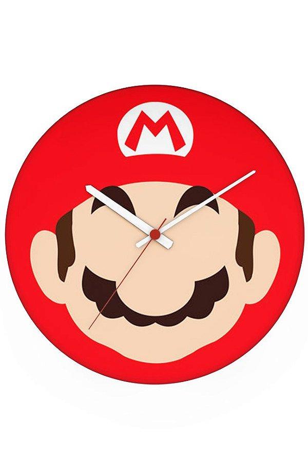 Relógio de Parede Mario Bros Face - Nerd e Geek - Presentes Criativos