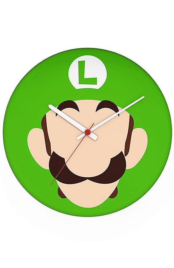 Relógio de Parede Luigi Face - Nerd e Geek - Presentes Criativos