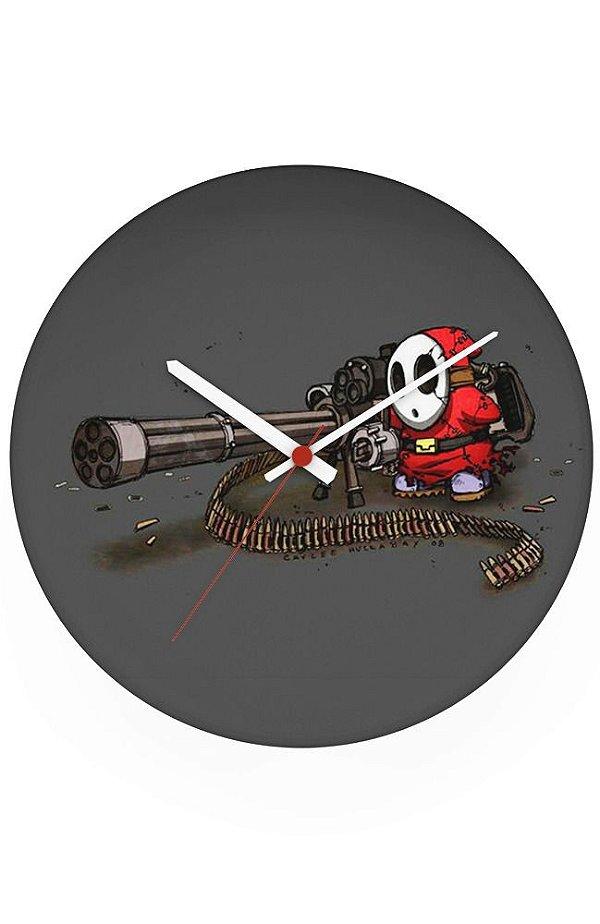 Relógio de Parede Mário Wars - Metralhadora - Nerd e Geek - Presentes Criativos