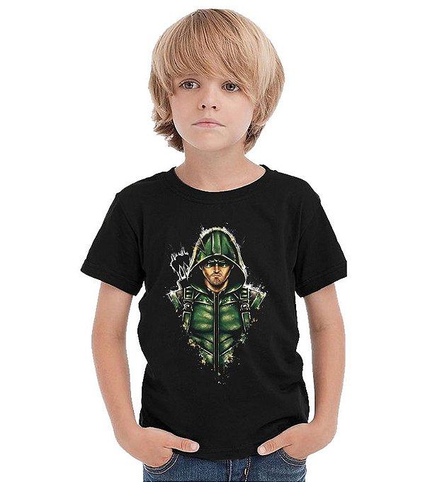 Camiseta Infantil Arrow - Oliver Queen / Arqueiro Verde