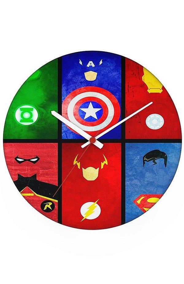 Relógio de Parede Capitão America e Flash