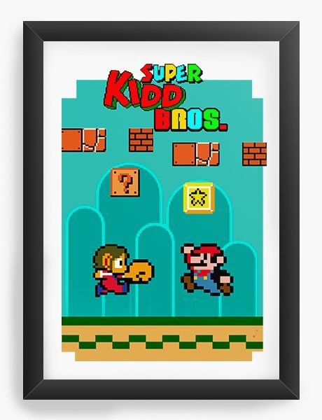 Quadro Decorativo A4 (33X24) Super Kidd Bros - Nerd e Geek - Presentes Criativos