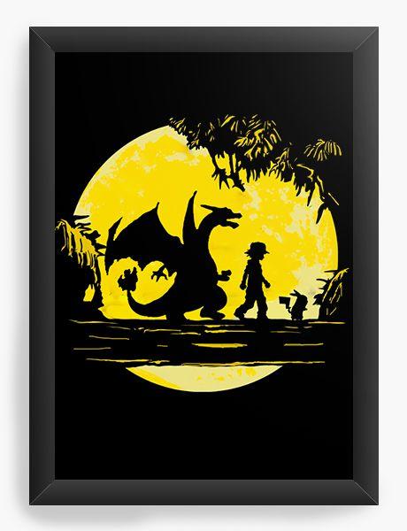 Quadro Decorativo Pokemon - Ash e Pikachu - Nerd e Geek - Presentes Criativos