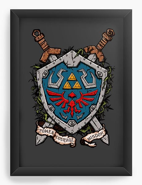 Quadro Decorativo Link Escudo - Nerd e Geek - Presentes Criativos