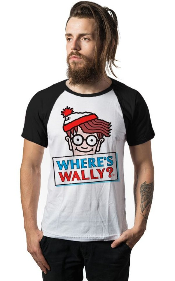 Camiseta Raglan Where's Wally ? - Nerd e Geek - Presentes Criativos
